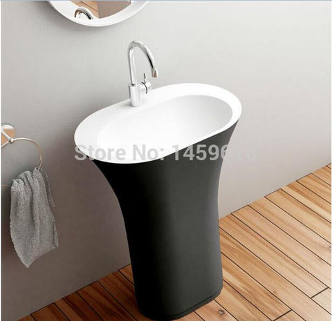 $1968.48- Bathroom Oval Pedestal Washbasin Solid Surface Stone Cloakroom Standing Vanity Sink Exterior Black Internal White W9017