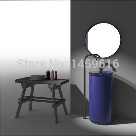 $1779.40- Bathroom Round Pedestal Washbasin Resin Acrylic Colored Cloakroom standing Vanity Sink W9010