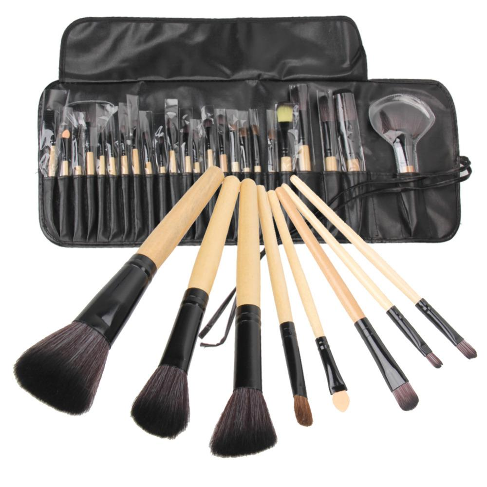 $19.11- 24Pcs Makeup Brushes Cosmetic Tool Kits Professional Eyeshadow Powder Eyeliner Contour Brush Set W/ Case Bag Pincel Maquiagem