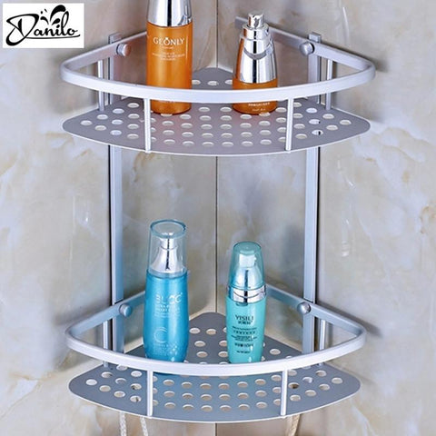 $26.89- Hot Space Aluminum Bathroom Shelf Two Layer Wall Mounted Shower Shampoo Soap Cosmetic Bathroom Shelves Bathroom Accessories