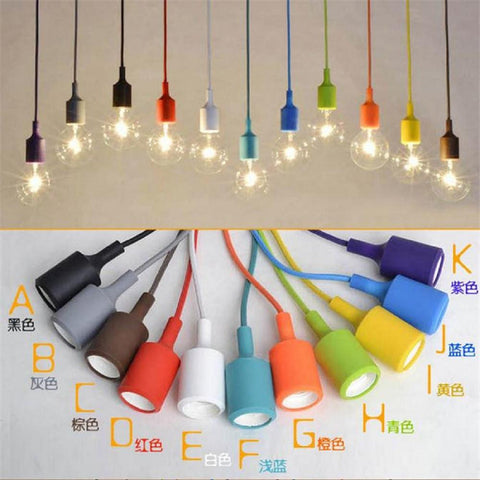 $7.58- Colorful Silicone Pendant Lights E27 Holder Modern DIY Design hanging Lamps Ceiling Base home store shop industrial suspension