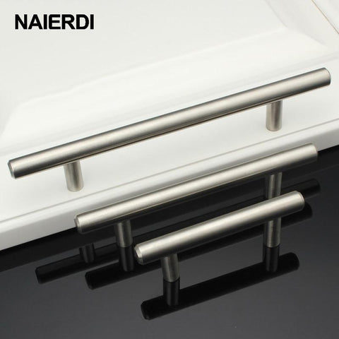 $1.84- Naierdi 4 ~ 24'' Stainless Steel Handles Diameter 12Mm Kitchen Door Cabinet T Bar Straight Handle Pull Knobs Furniture Hardware