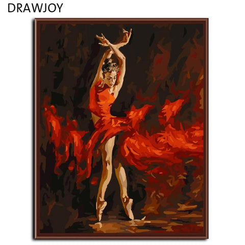 $15.11- Frameless Wall Art Balle Dancer Picture Painting By Bumbers Hand Painted Oil On Canvas Home Decor For Living Room 40*50Cm G286