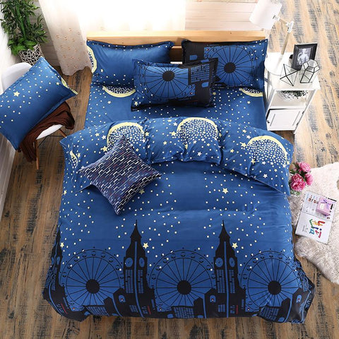 $38.52- Bedding Set The Nordic Style Blue Star Castle Duvet Cover Set King Queen Bed Sheet Bed Linen Bedcloth Flower Printed Five Size