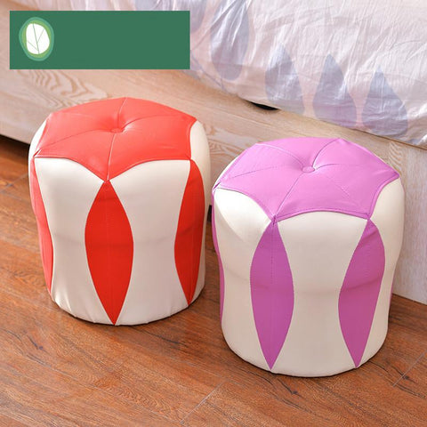 High Quality Modern Fashion Small Stool Fashion Creative Household Thickening Shoes Dressing Wood Bench Sofa Leather Stool