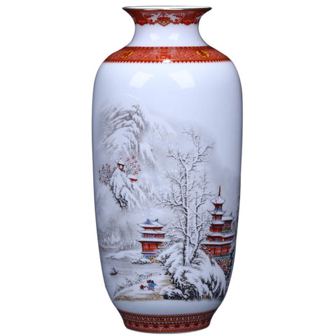 $60.48- Antique Jingdezhen Ceramic Vase Eggshell Vase Desk Accessories Crafts Snow Flower Pot Traditional Chinese Style Porcelainvase
