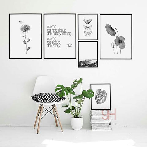 Nordic Style Canvas Art Print Painting Poster Butterfly Wall Pictures For Home Decoration Wall Decor Bw006