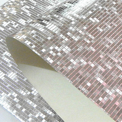 $45.08- Modern Luxury Glitter Mosaic Wallpaper Roll Background Wall Gold Foil Wall Paper Ktv Bar Room Decor Silver Ceiling Wall Covering