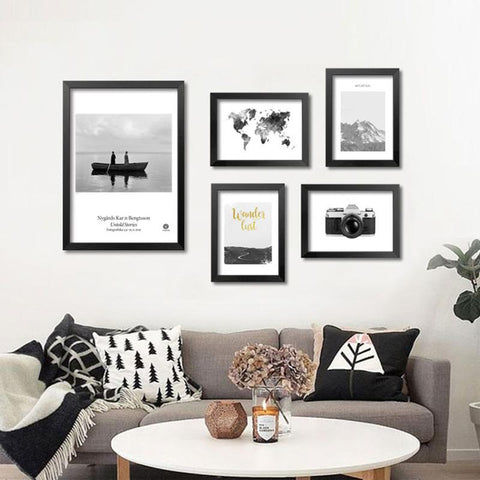 Wall Pictures For Living Room Wall Art Canvas Painting Grey Map Posters Prints Nordic Decoration Cuadros No Poster Frame