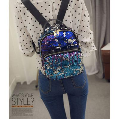 $22.48- 2016 New Arrival Women AllMatch Bag Pu Leather Sequins Backpack Girls Small Travel Princess Bling Backpacks Zd215