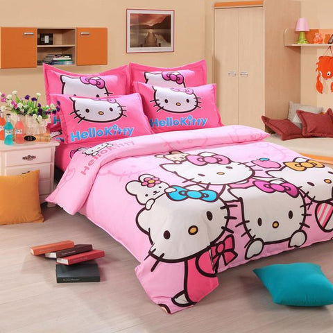$39.08- Brand Logo Hello Kitty Bedding Set Children Cotton Bed Sheets Hello Kitty Duvet Cover Sheet Pillowcase King/Queen/Twin 4Pcs Bs35