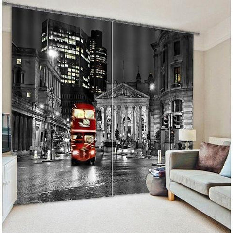 $136.65- London City Bus Mordern 3D Blackout Window Curtains For Living Room Bedding Room Hotel/Office Curtain Drapes Cortinas Para Sala