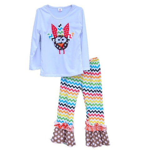 $23.94- Girls Boutique Clothing Thanksgiving Kids Costume Animal Pattern Pullover Rainbowcolored Pants Daily Outfits T003