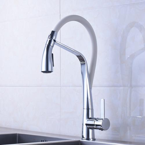 Chrome and White Brass Vessel Sink Mixer Tap Kitchen Faucet Single Handle Hole Deck Mounted