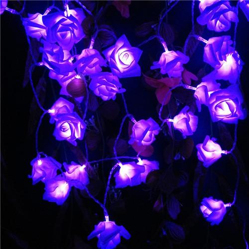 $10.76- 2M Wedding Decoration Rose Flower Led Bouquet String Lights Battery Color Rosa Christmas Festival Party Garden Bedroom Lumiere