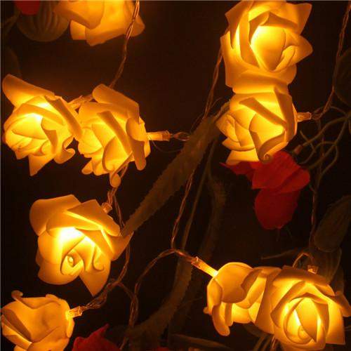 $9.22- 2M Wedding Decoration Rose Flower Led Bouquet String Lights Battery Color Rosa Christmas Festival Party Garden Bedroom Lumiere