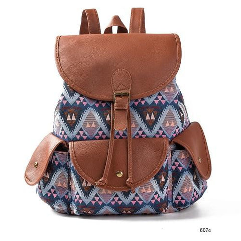 Miyahouse Exclusive New 2016 Handmade Bohemian Mochila Vintage Backpack Drawstring Printing Canvas Bagpack Women Backpack
