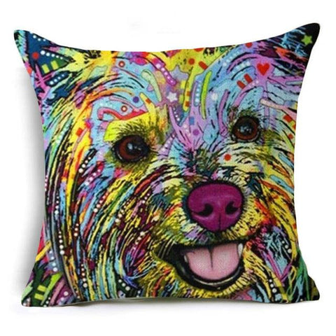 $6.67- Nordic Colorful Oil Painting Dachshund Cushion Cover Cute Dogs & Cats Pillow Cover Bull Terrier Pillow Case Almofadas Home Decor