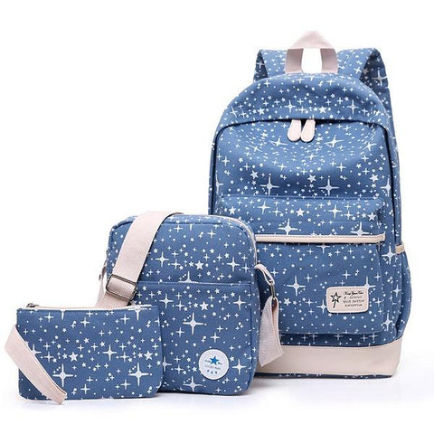 Fashion Star Women Canvas Backpack Schoolbags School For Girl Teenagers Casual Travel Bags Rucksack Cute Printing Children