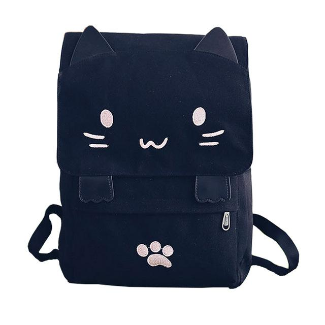 $24.37- New Lovely Cat Backpack Women Canvas Backpack Girls School Bag Cartoon Students Shoulder Bag Mochila Rucksuck Bolsas Xa506B