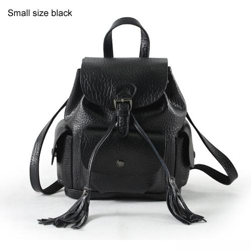 $93.70- Women Leather Backpack Genuine Leather Vintage Tassel Fashion Backpack For Girls Preppy Style School Backpack Mochila