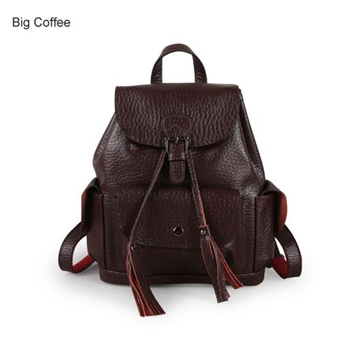 $99.11- Women Leather Backpack Genuine Leather Vintage Tassel Fashion Backpack For Girls Preppy Style School Backpack Mochila