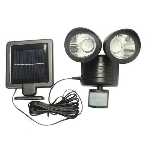 22Led Pir Motion Sensor Light Led Solar Powered Security Light Automatically Dual Heads Rotatable Wall Lamp Ip44 For Garden