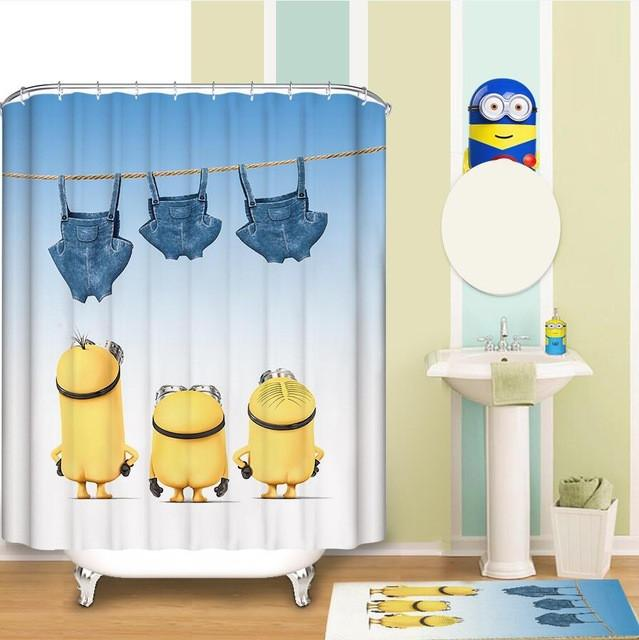 3040 Minions Shower Curtain Pattern Customized Waterproof Bathroom Fabric 165X180Cm For