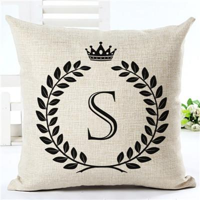 $6.76- Nordic Customized Cushion Covers Wheat Custom Pillows Case 26 Letter Bed Sofa Decorative Gift Almofadas Cojines