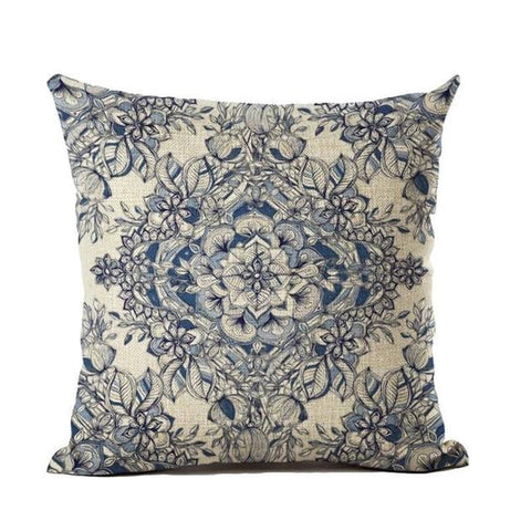 $6.44- Nordic Flower Vintage Cushion Cover Bohemian Colorful Geometric Sofa Seat Luxury Home Decorative Size 45*45Cm Throw Pillow Case
