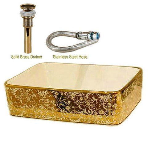 $429.35- Mosaic Gold Rectanglar Washbasin Luxurious Artistic Wash Basin Bathroom Sink