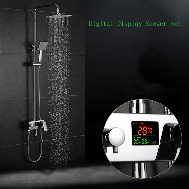 $137.28- Digital Display Shower Faucet. Water Powered Digital Display Shower SetNo Need Battery.8 Inch Rain Shower Head Tub Mixer Faucet