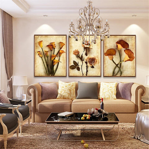 $13.11- Frameless Canvas Art Oil Painting Flower Painting Design Home Decor Print Wall Art Modular Picture For Living Room Wall 3 Panel