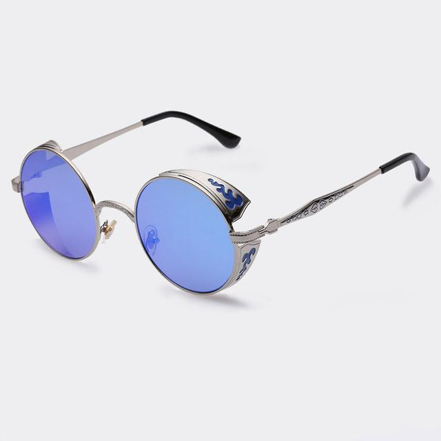 $17.89- Aofly Steampunk Vintage Sunglass Fashion Round Sunglasses Women Brand Designer Metal Carving Sun Glasses Men Oculos De Sol S1635