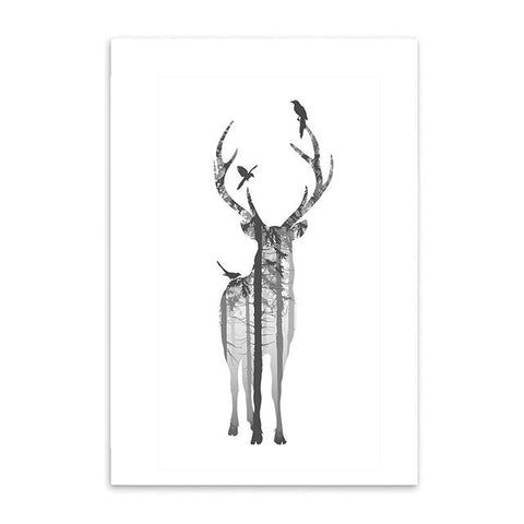 $9.90- Nordic Style Forest Canvas Art Print Painting Poster Deer Wall Pictures For Home Decoration Wall Decor Bw001