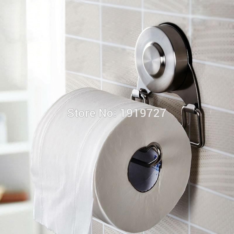 high quality stainless steel sus304 hook style satin kitchen bathroom bar style suction cup rolling tissue toilet paper holder