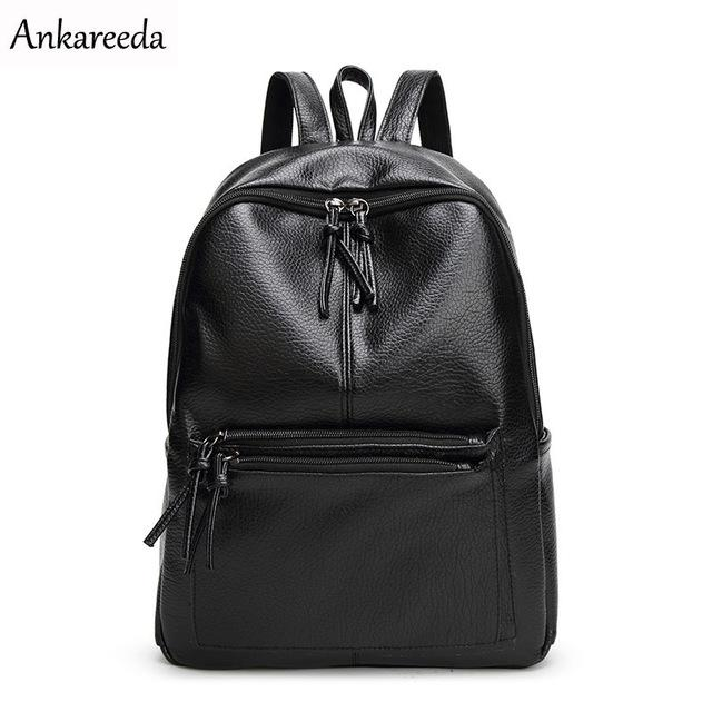 $20.99- Ankareeda New Travel Backpack Korean Women Backpack Leisure Student Schoolbag Soft Pu Leather Women Bag High Quality