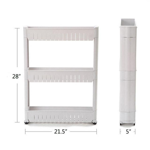 1 Pc White Gap Storage Shelf For Kitchen Storage Skating Movable Plastic Bathroom Shelf Save Space 3 4 Layers High Quality