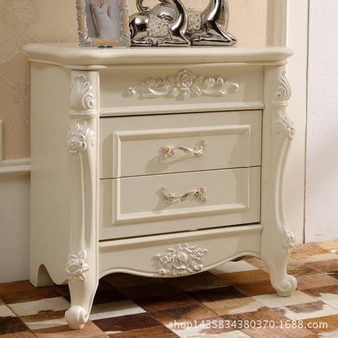 $493.48- European Wood Nightstand Simple French Bedroom Mini Storage Small Bedside Cabinet Factory Direct Furniture