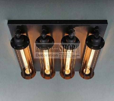 $260.70- New Vintage 4 Head Iron Cage Ceiling Light Loft Lustre Lamps For Home Decor Restaurant Dinning Room Fixture