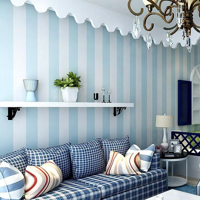 $35.26- Cozy Bedroom NonWoven Wallpaper Blue White Striped Wallpaper For Walls Modern Feature Vertical Striped Wallpaper Roll Decor