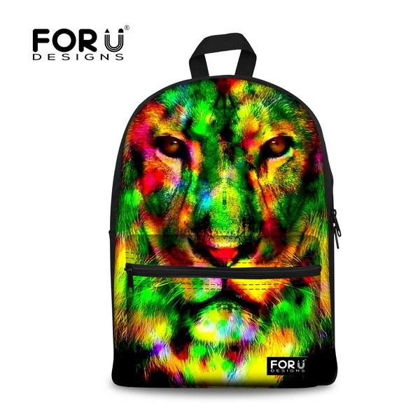$43.18- Brand Unique 3D Tiger Head Backpack Women Preppy Printing Backpack Casual Large Capacity Student Girls School Backpack
