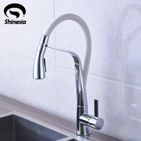$134.81- Chrome and White Brass Vessel Sink Mixer Tap Kitchen Faucet Single Handle Hole Deck Mounted