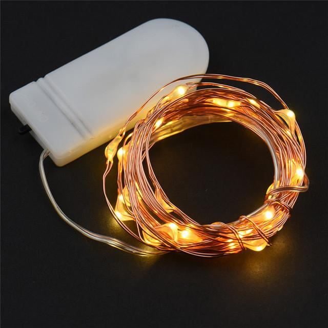 $6.32- 2 Set 30 Leds Copper Wire Lights 9.8Ft/3M String Lights For Christmas Light Festival Wedding Party Home Decoration Lamp 3 Colors