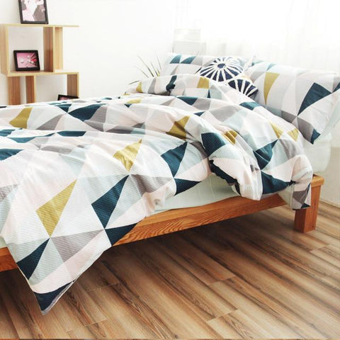 Cotton Nordic Style Bedding Set 3Pcs Quilt Cover Blue White Geometric Duvet Cover Queen Pillow Case
