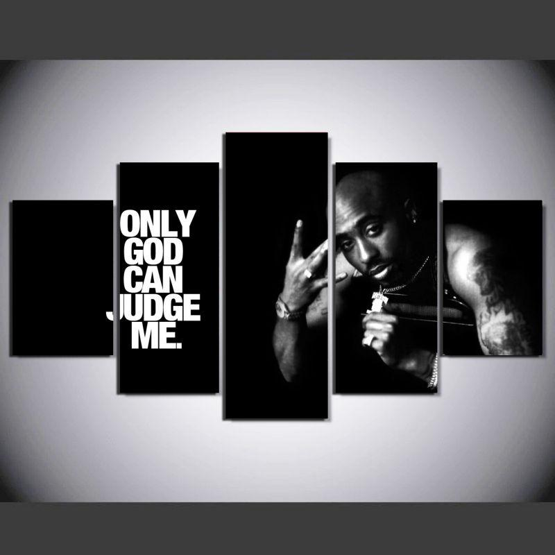 $44.28- 5 Pieces 2Pac Makaveli Tupac Amaru Shakur Modern Home Wall Decor Canvas Picture Art Hd Print Painting On Canvas For Living Room