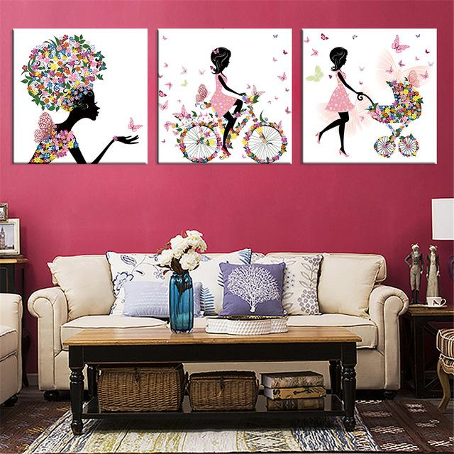 Buy Frameless Dancing Girl Oil Painting Butterfly Wall Poster Canvas ...