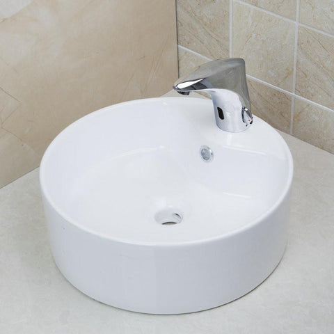 $340.07- Contemporary Countertop Bowl Sinks / Vessel Basins W/ Pop Up Drain White Ceramic Round Bathroom Sinks Td3025