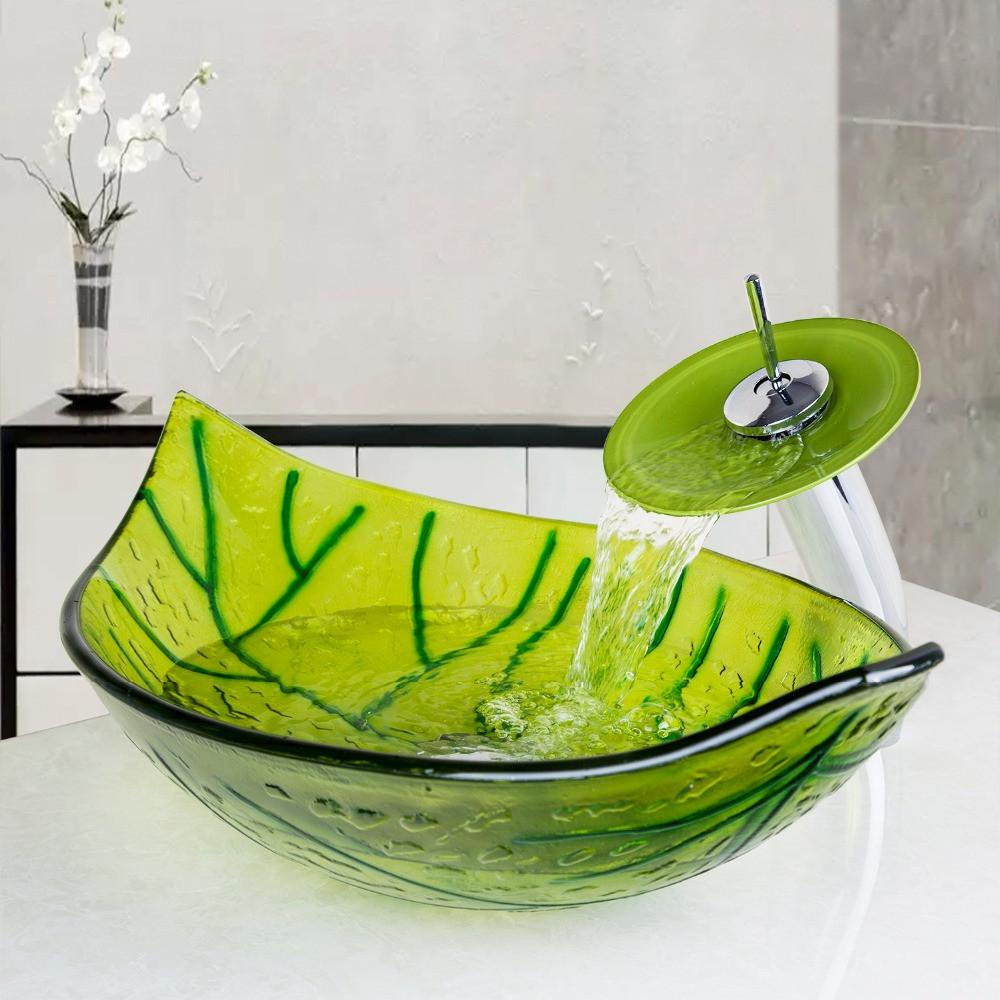 Green Leaf Color Washbasin Tempered Glass Vessel Sink Set Brass Bathroom  Sink Set W/ Waterfall Faucet Bathroom Faucets