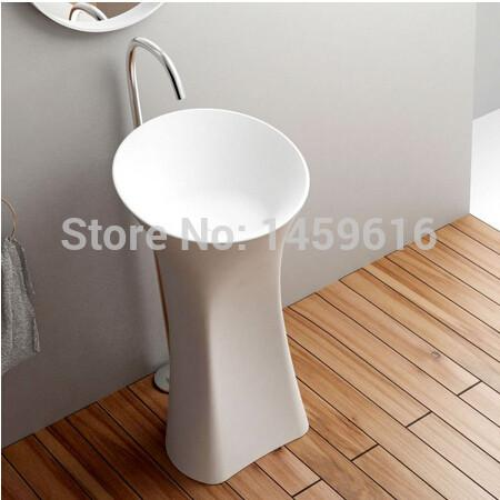 $1564.80- Bathroom Pedestal Washbasin Cloakroom Solid Surface Stone standing Vanity Washing Sink W9003